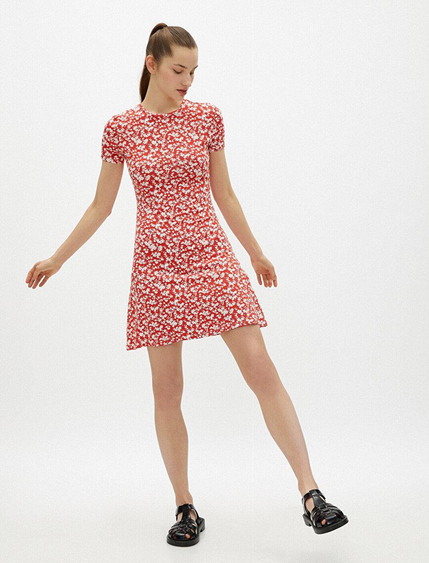 Floral Dress Crew Neck Short Sleeve Mini