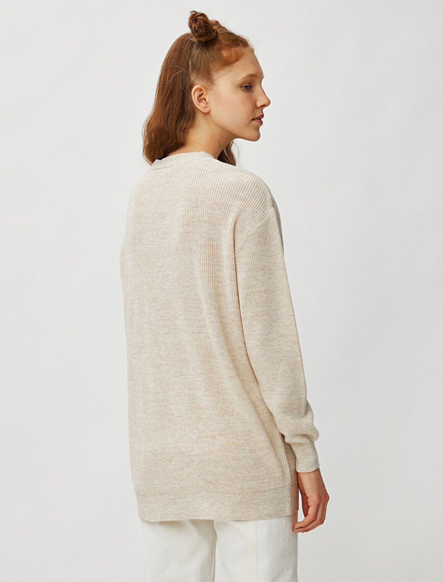 Neck Detailed Long Sleeve Sweater
