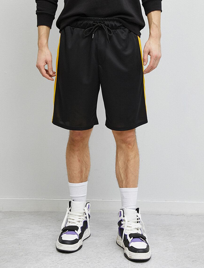 Striped Pocket Detailed Drawstring Shorts