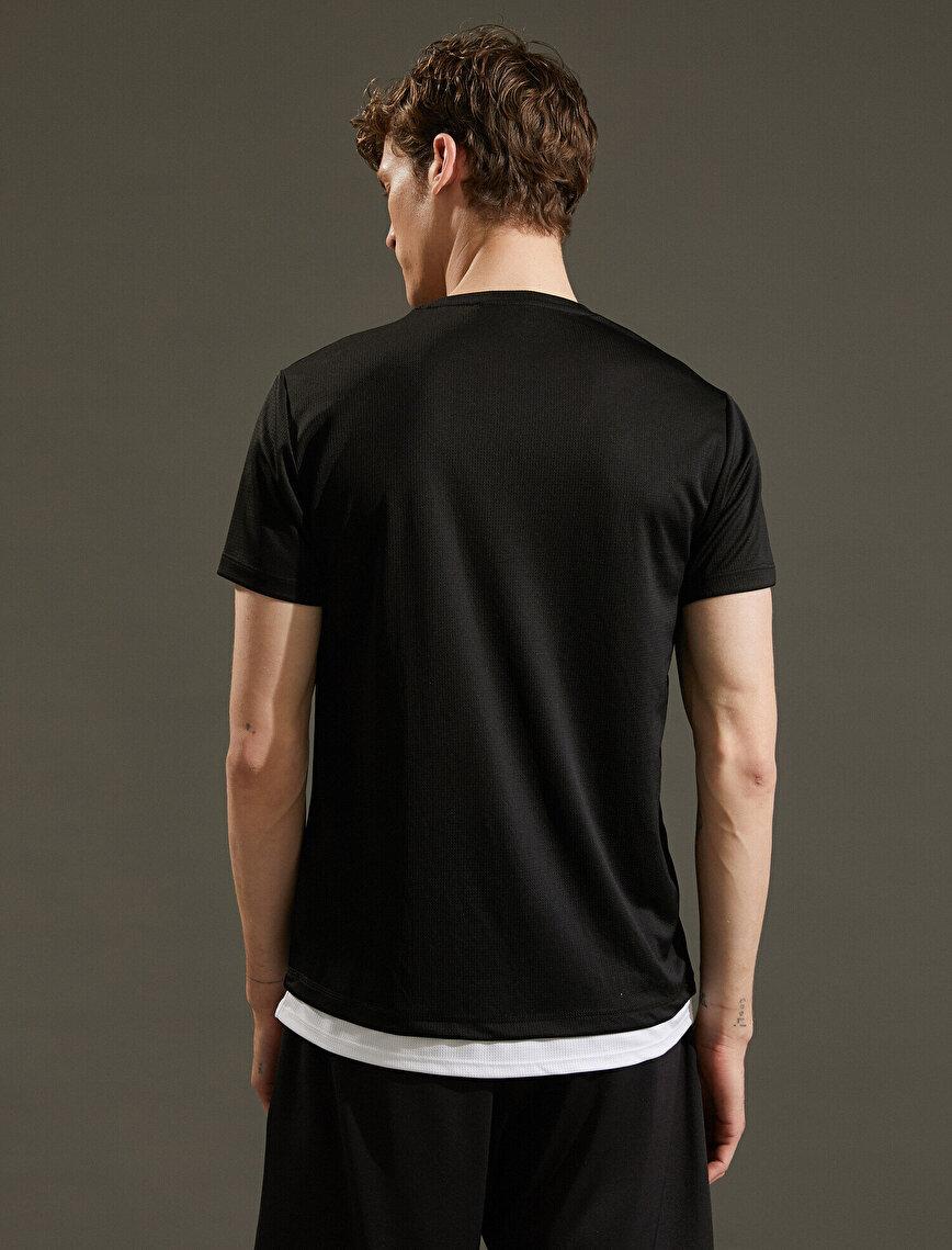 Slogan Printed T-Shirt Short Sleeve Crew Neck