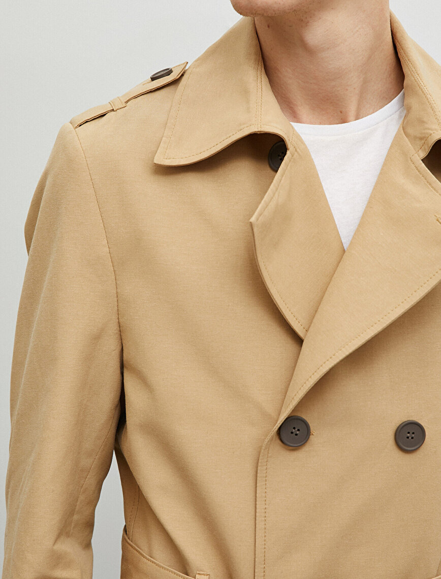 Button Detailed Trenchcoat Belt Detailed Cotton