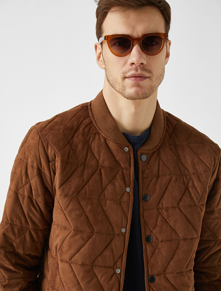 Bomber Collar Quilted Suede Coat