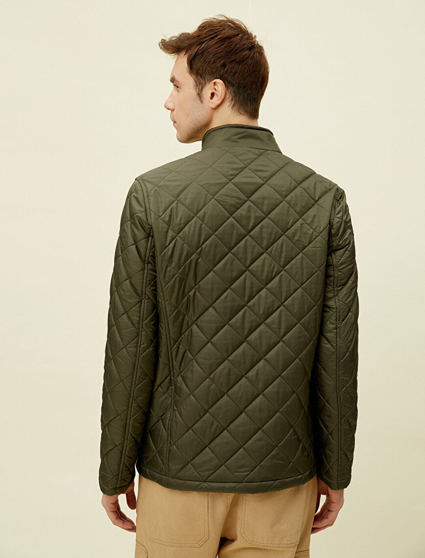 Quilted Pocket Stand Neck Zipper Coat