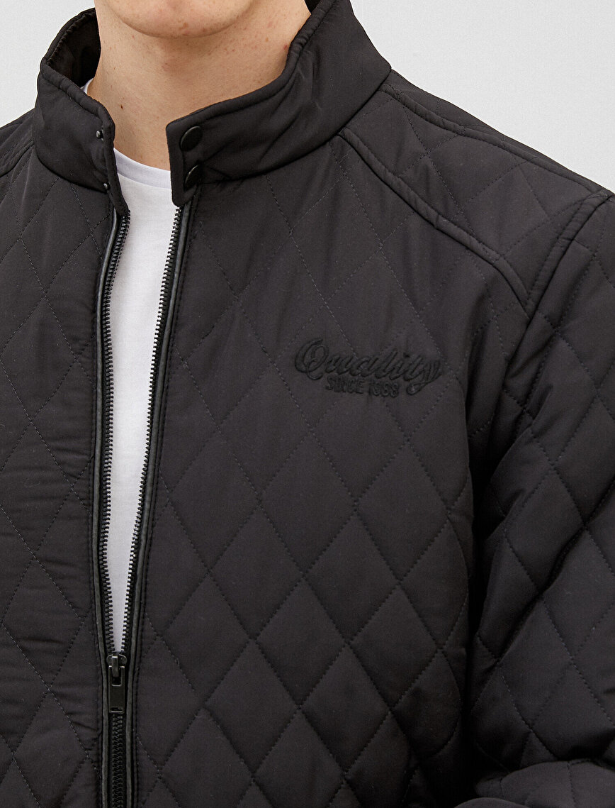 Quilted Jacket Stand Neck Zipper