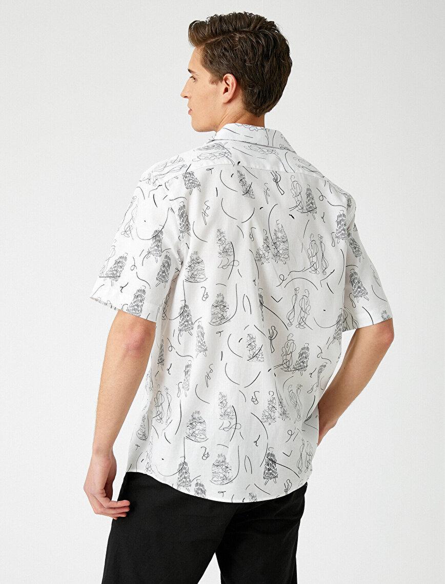Kısa Kollu Gömlek Baskılı