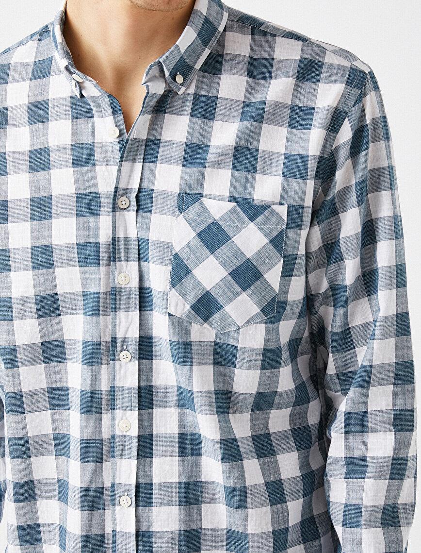 Kareli Uzun Kollu Cepli Pamuklu Klasik Yaka Gömlek