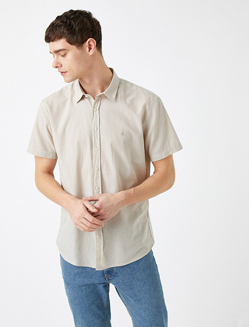 Kısa Kollu Gömlek Pamuklu Slim