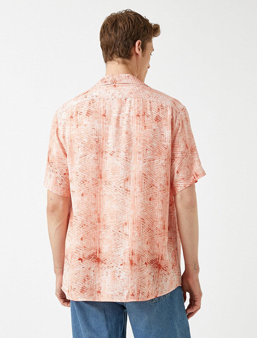 Kısa Kollu Gömlek Desenli