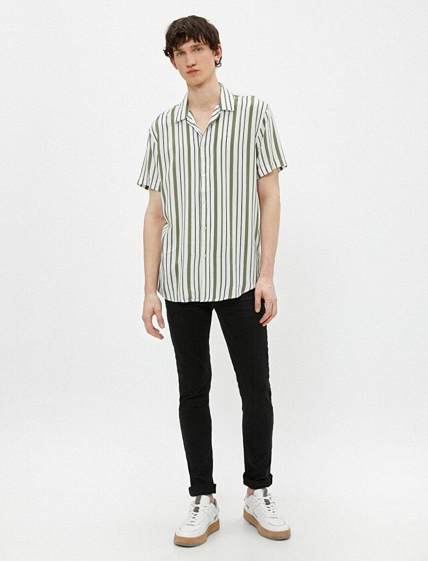 Kısa Kollu Gömlek Çizgili