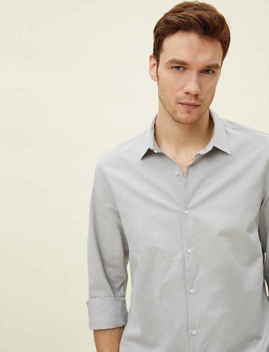 Classic Collar Cotton Long Sleeve Shirt