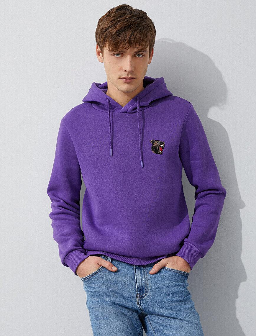 Embellished Hooded Basic Long  Sleeve Sweatshirt