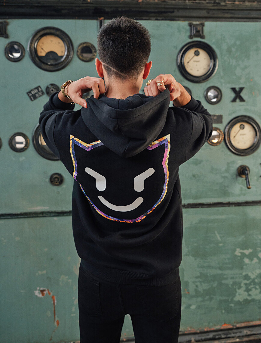 Back and Chest Printed Hooded Sweatshirt