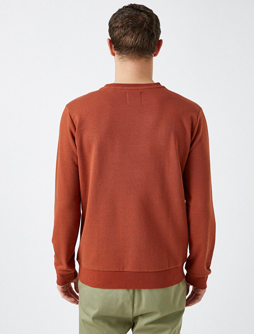 Cotton Basic Crew Neck Long Sleeve Sweatshirt