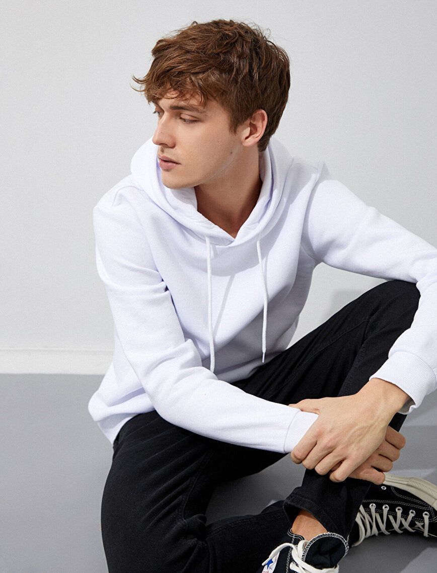 Cotton Hooded Long Sleeve Basic Sweatshirt