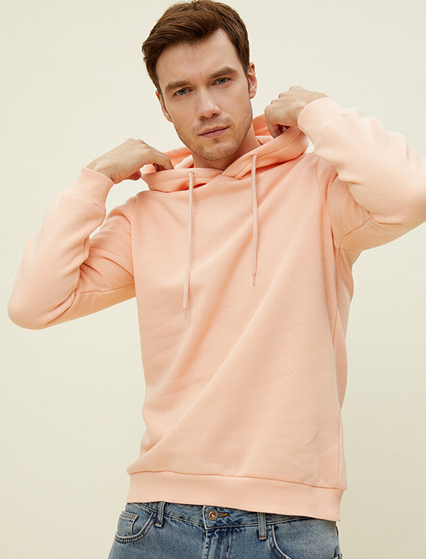 Cotton Hooded Long Sleeve Basic Sweatshirt