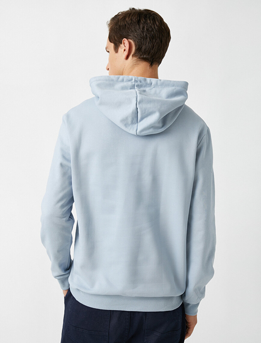 Cotton Letter Printed Hooded Sweatshirt