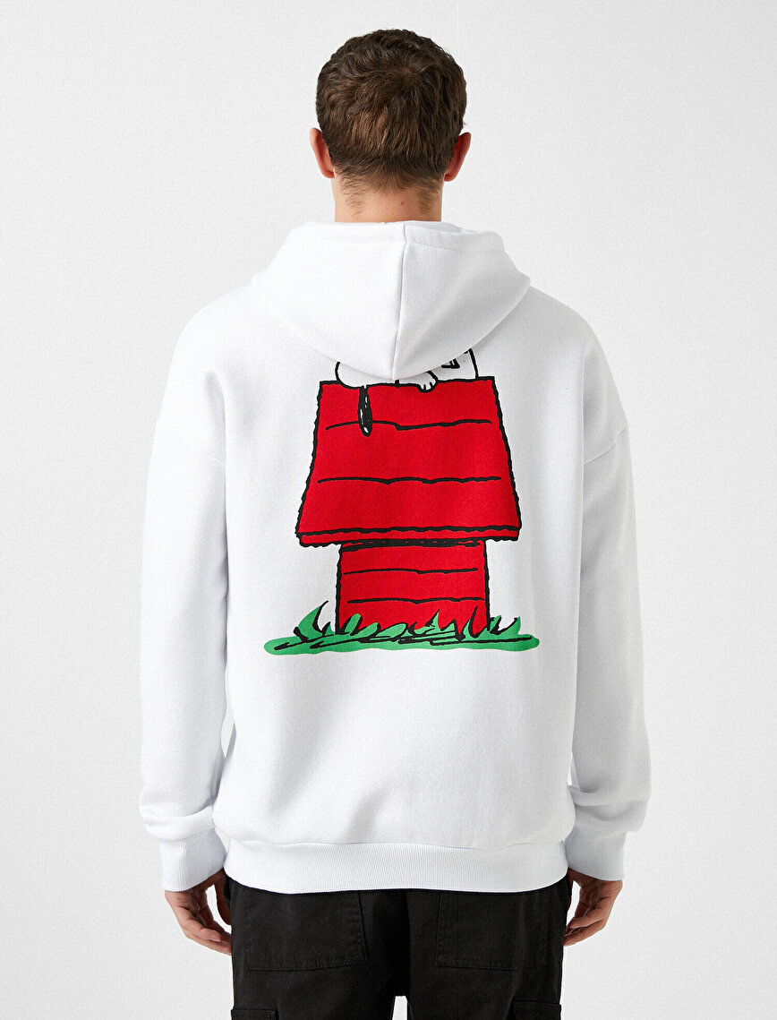 Snoopy Licensed Printed Hooded Cotton Sweatshirt