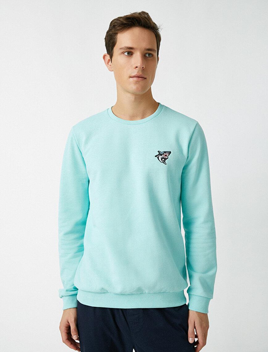 Embellished Crew Neck Long Sleeve Sweatshirt