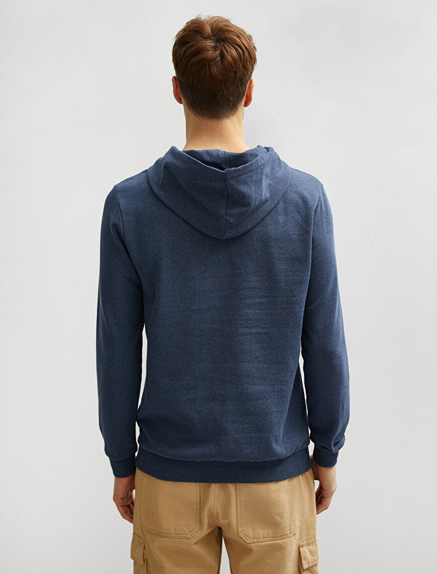 Hooded Cotton Long Sleeve Basic Sweatshirt