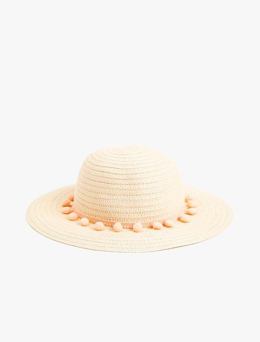 Ponponlu Hasır Şapka Kız Çocuk