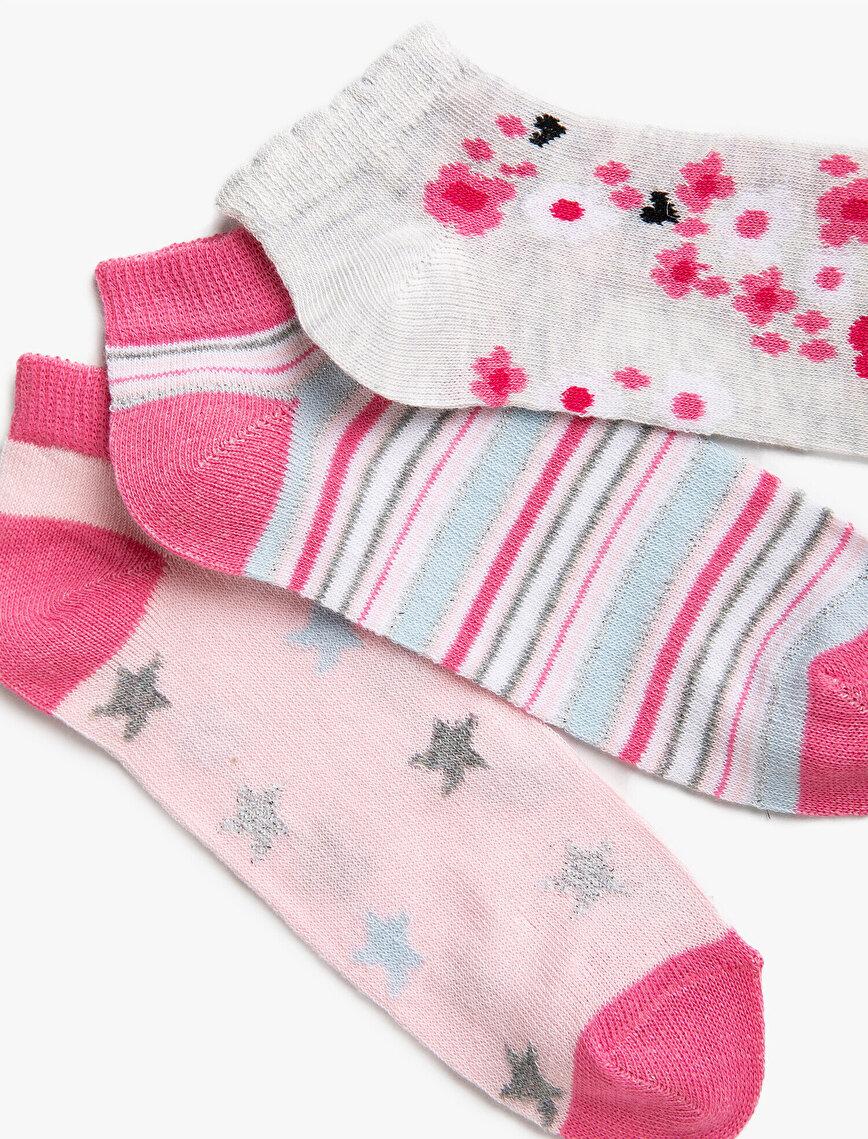 Kız Çocuk Desenli Çorap Seti Pamuklu Çizgili