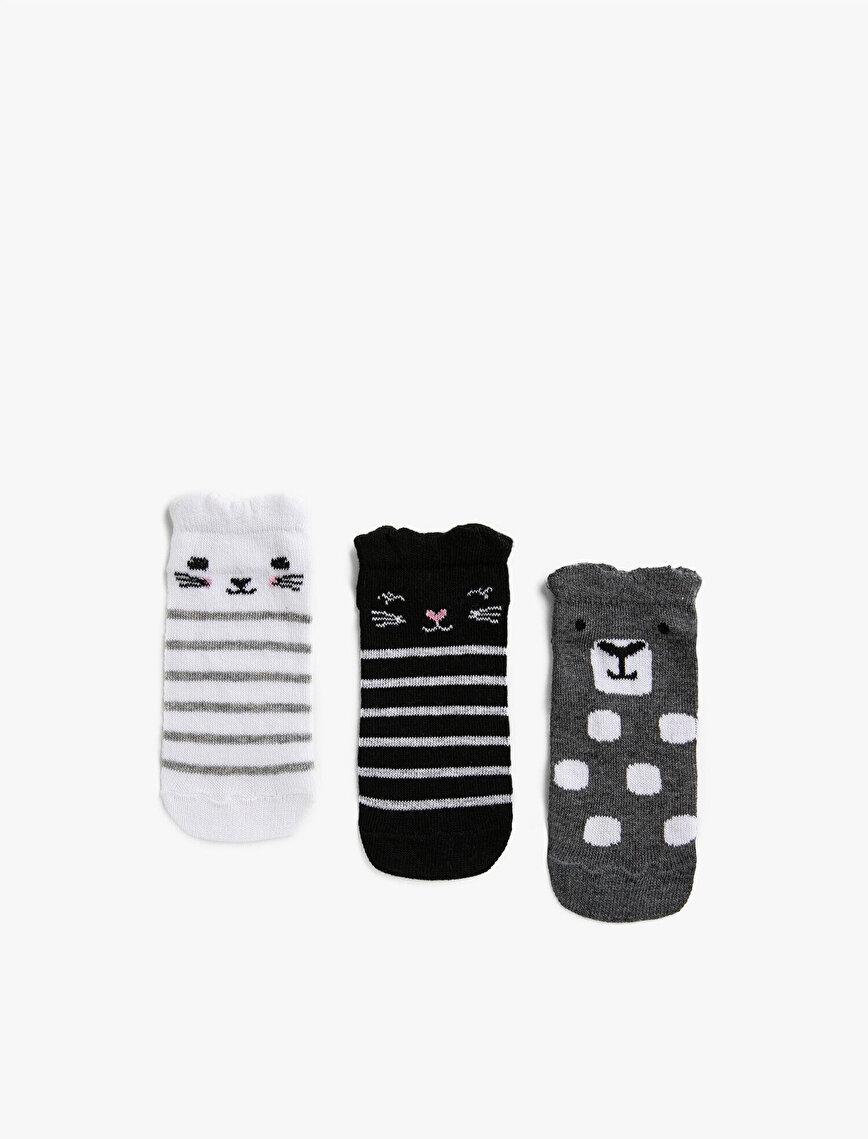 Kız Çocuk Çizgili Çorap Seti Pamuklu