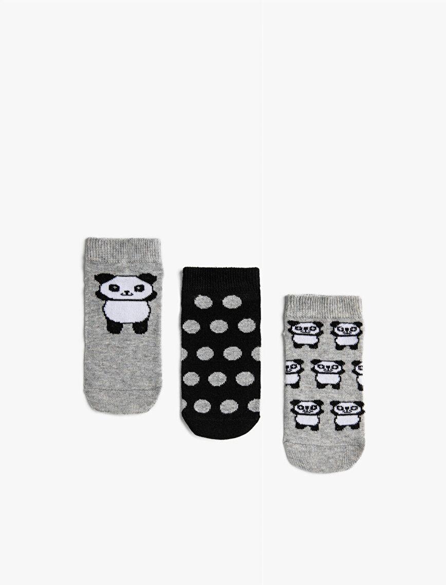 Kız Çocuk Pandalı Çorap Seti Pamuklu Desenli