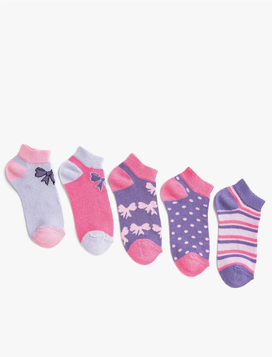 Kız Çocuk Desenli Çorap Seti Pamuklu