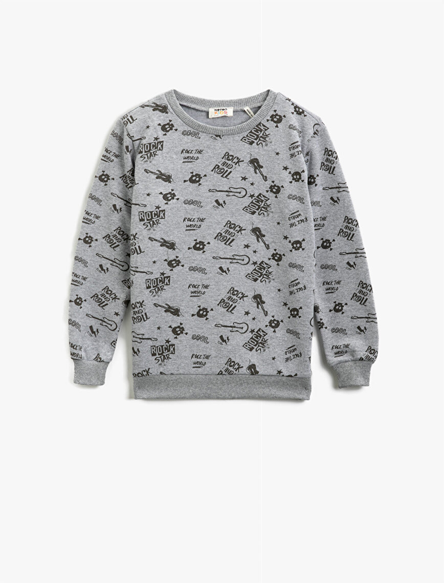 Cotton Letter Printed Crew Neck Long Sleeve Sweatshirt