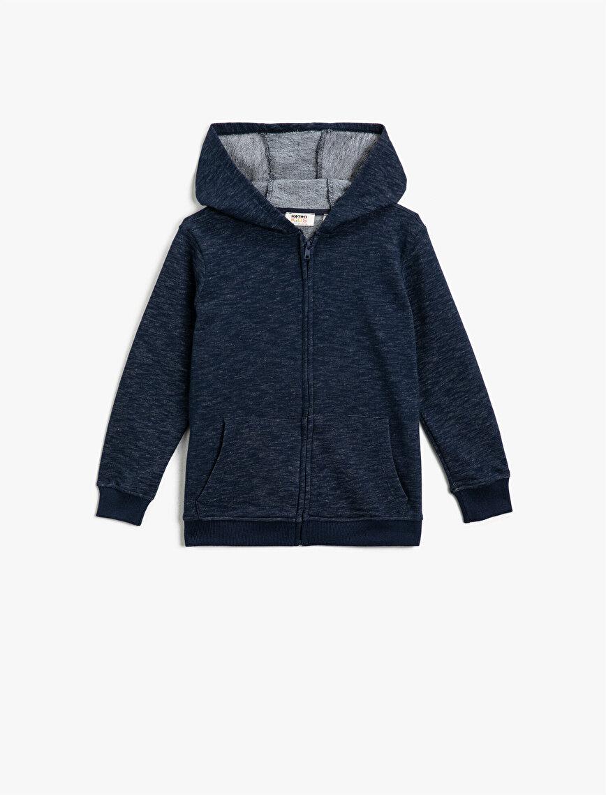 Kapüşonlu Fermuarlı Cepli Sweatshirt