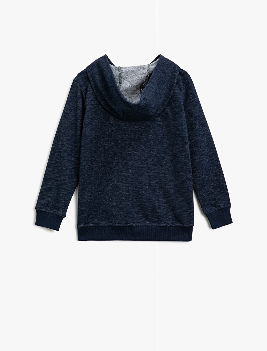 Hooded Zipper Pocket Detailed Sweatshirt