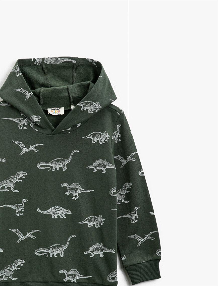 Pamuklu Kapüşonlu Baskılı Uzun Kollu Sweatshirt