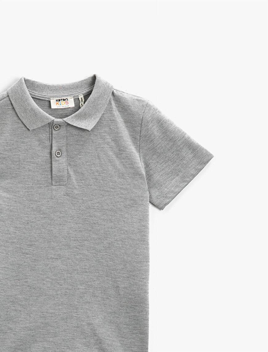 Polo Yaka Tişört Pamuklu Basic Kısa Kollu