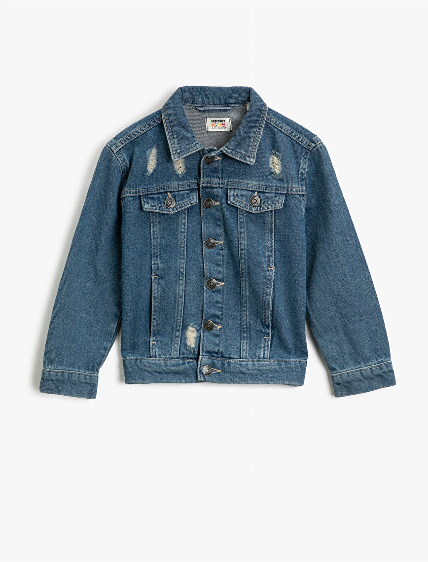 Pocket Detailed Classic Collar Cotton Jean Jacket