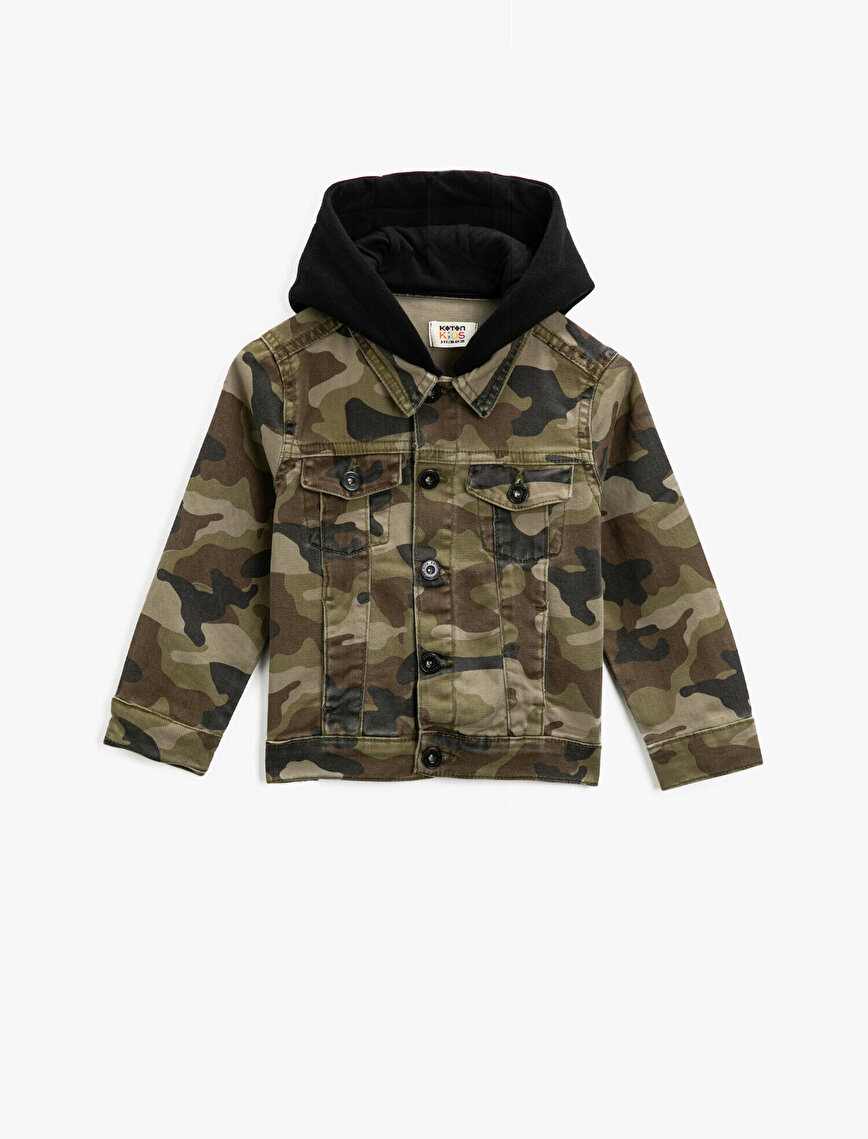Hooded Cotton  Camouflage Patterned Pocket Detailed Jean Jacket