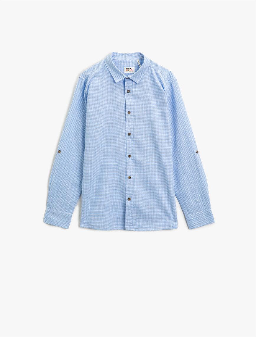 Klasik Yaka Pamuklu Uzun Kollu Pamuklu Gömlek