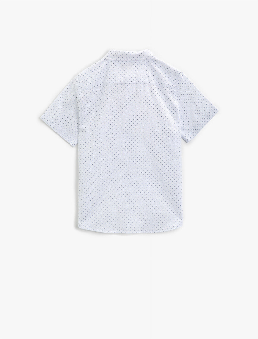 Kısa Kollu Gömlek Desenli Papyonlu Pamuklu