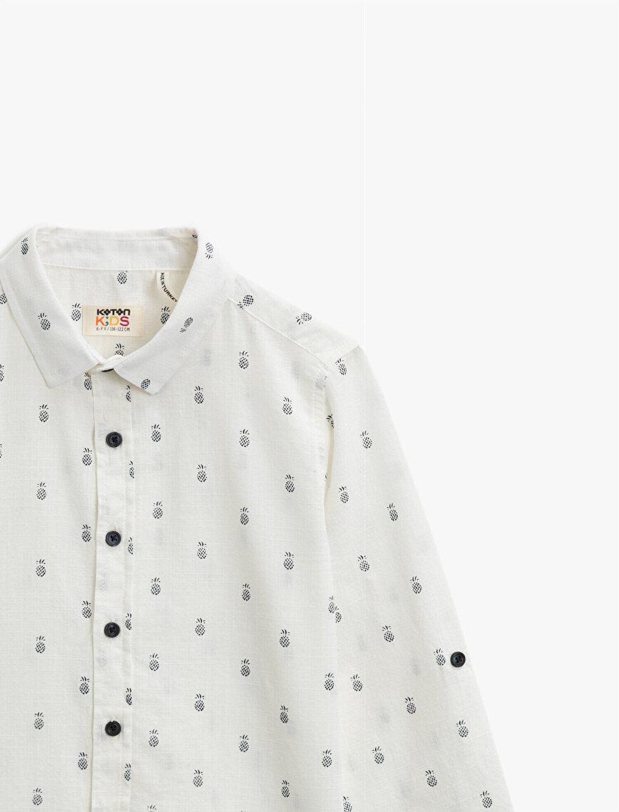 Klasik Yaka Uzun Kollu Pamuklu Desenli Gömlek