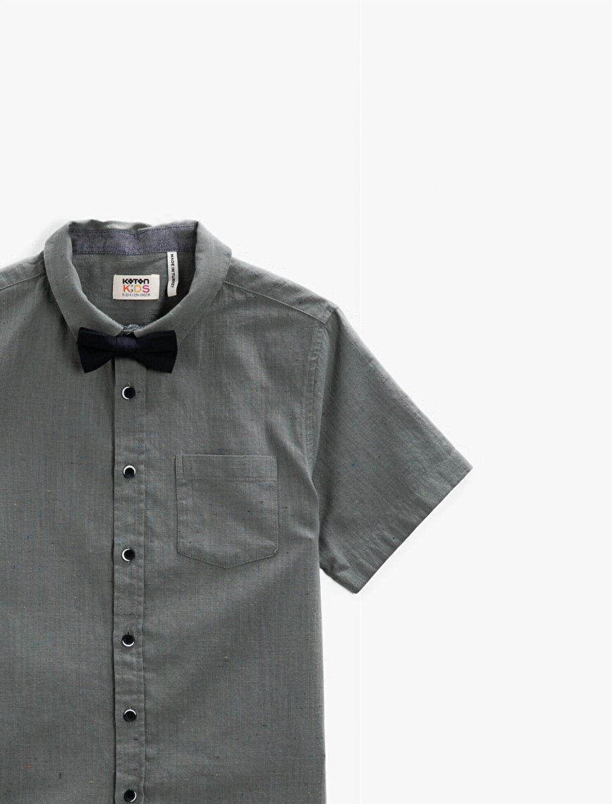 Kısa Kollu Gömlek Klasik Yaka Pamuklu Papyonlu