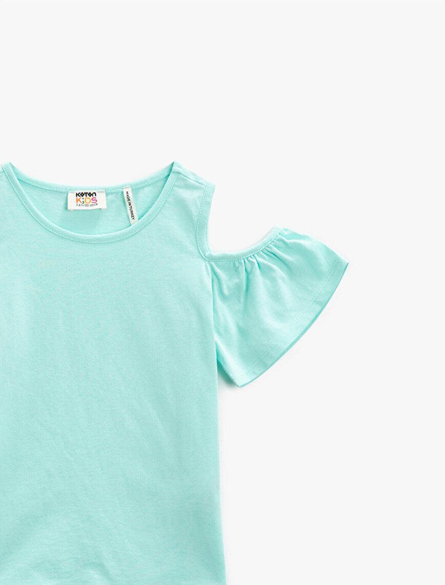 Crew Neck T-Shirt Shoulder Detailed Cotton