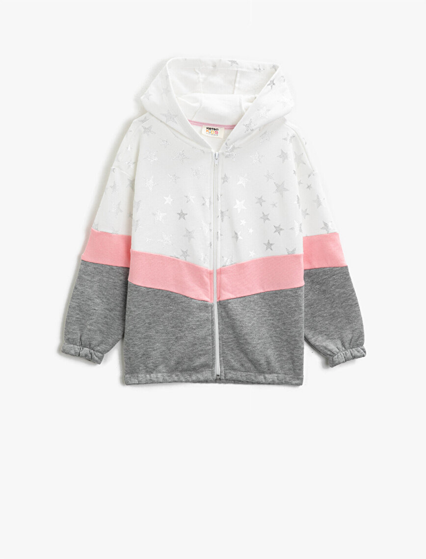 Cotton Hooded Printed Color Block Zipper Detailed Sweatshirt