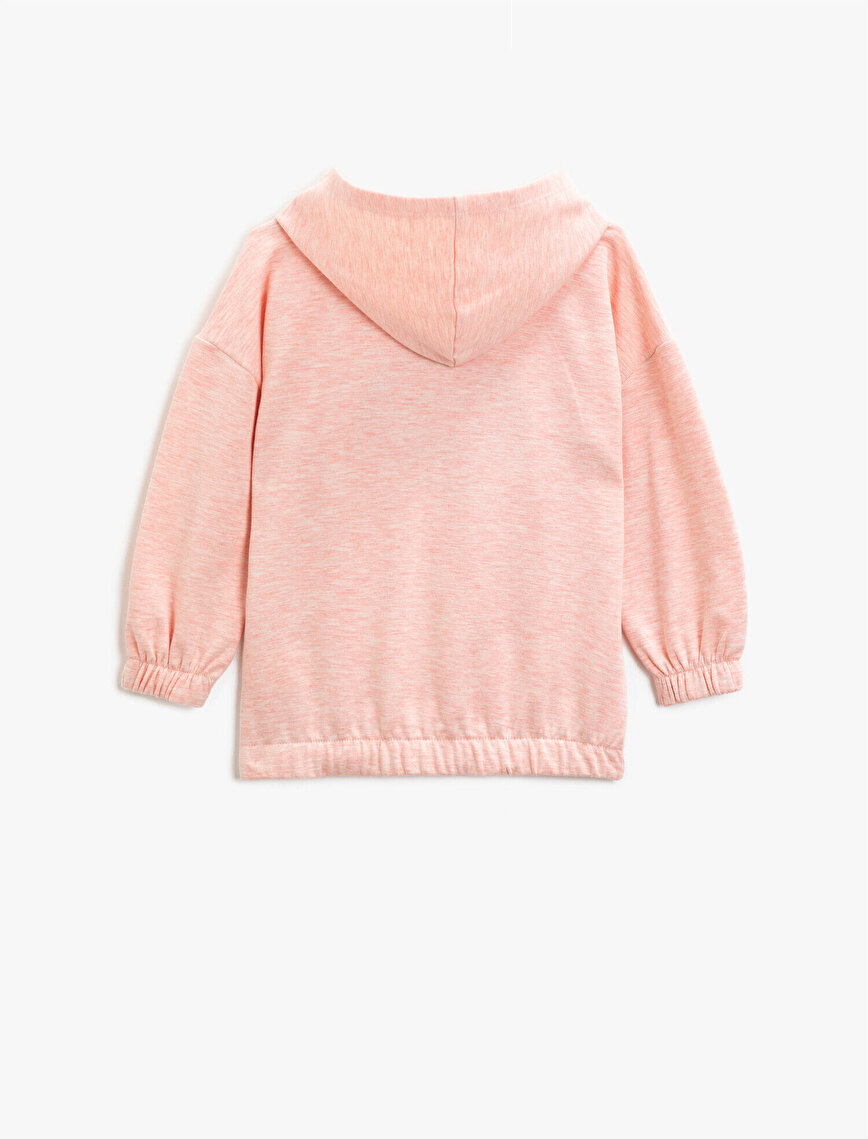 Kapüşonlu İşlemeli Uzun Kollu Sweatshirt