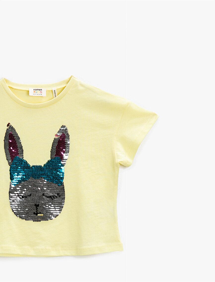 Sequinned T-Shirt Short Sleeve Cotton