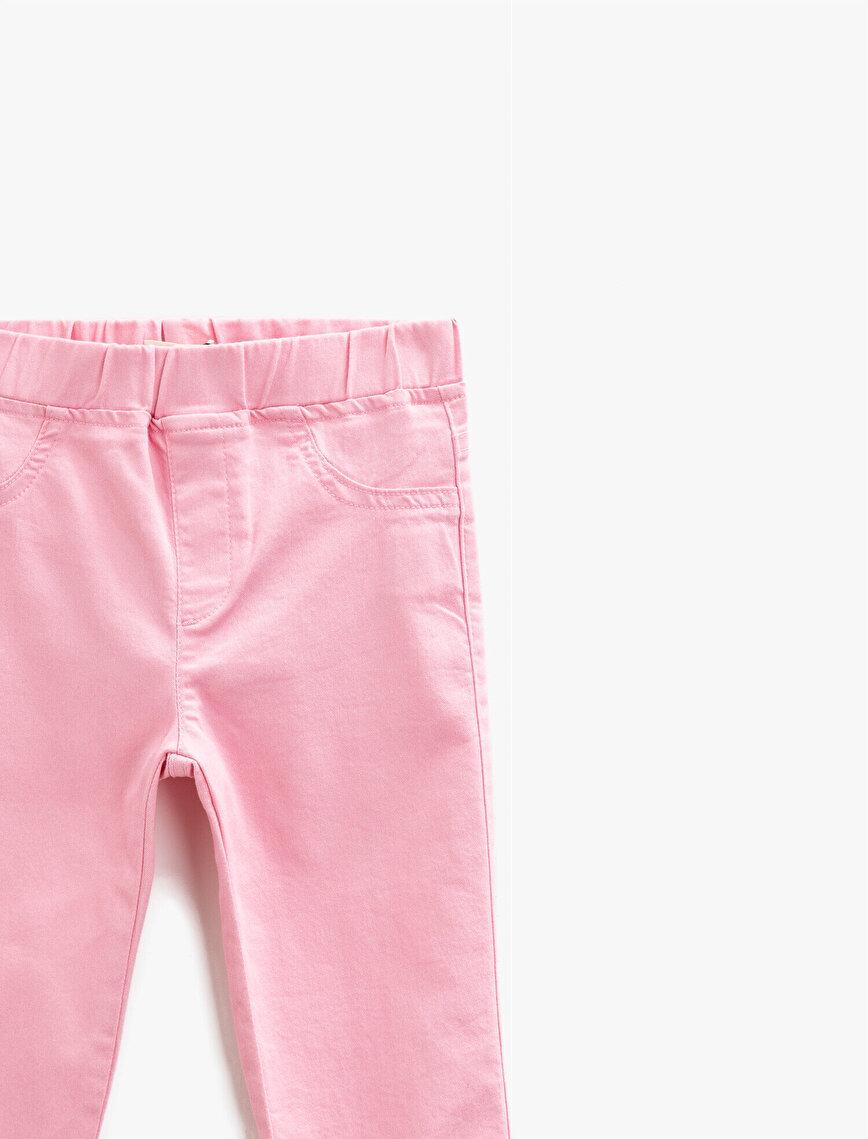 Elastic Waist Trousers Cotton Basic