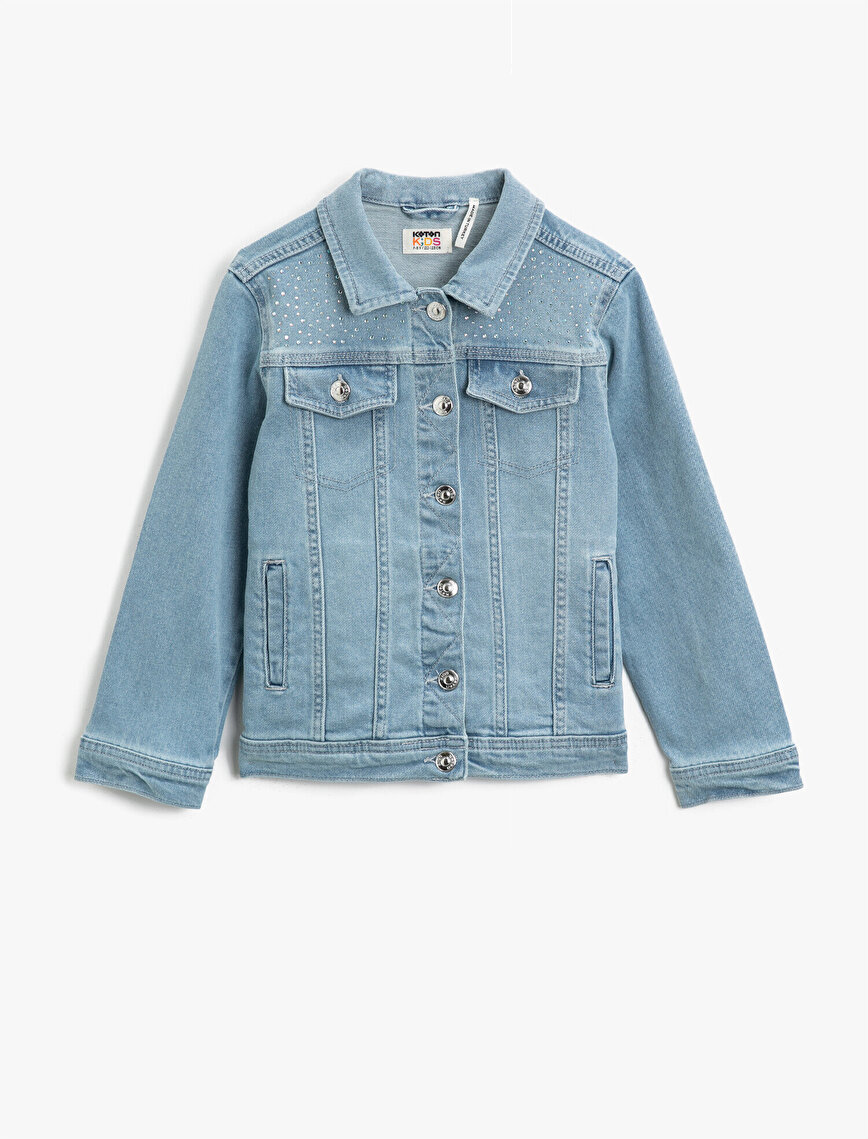 Stone Pocket Detailed Classic Collar Cotton Jean Jacket