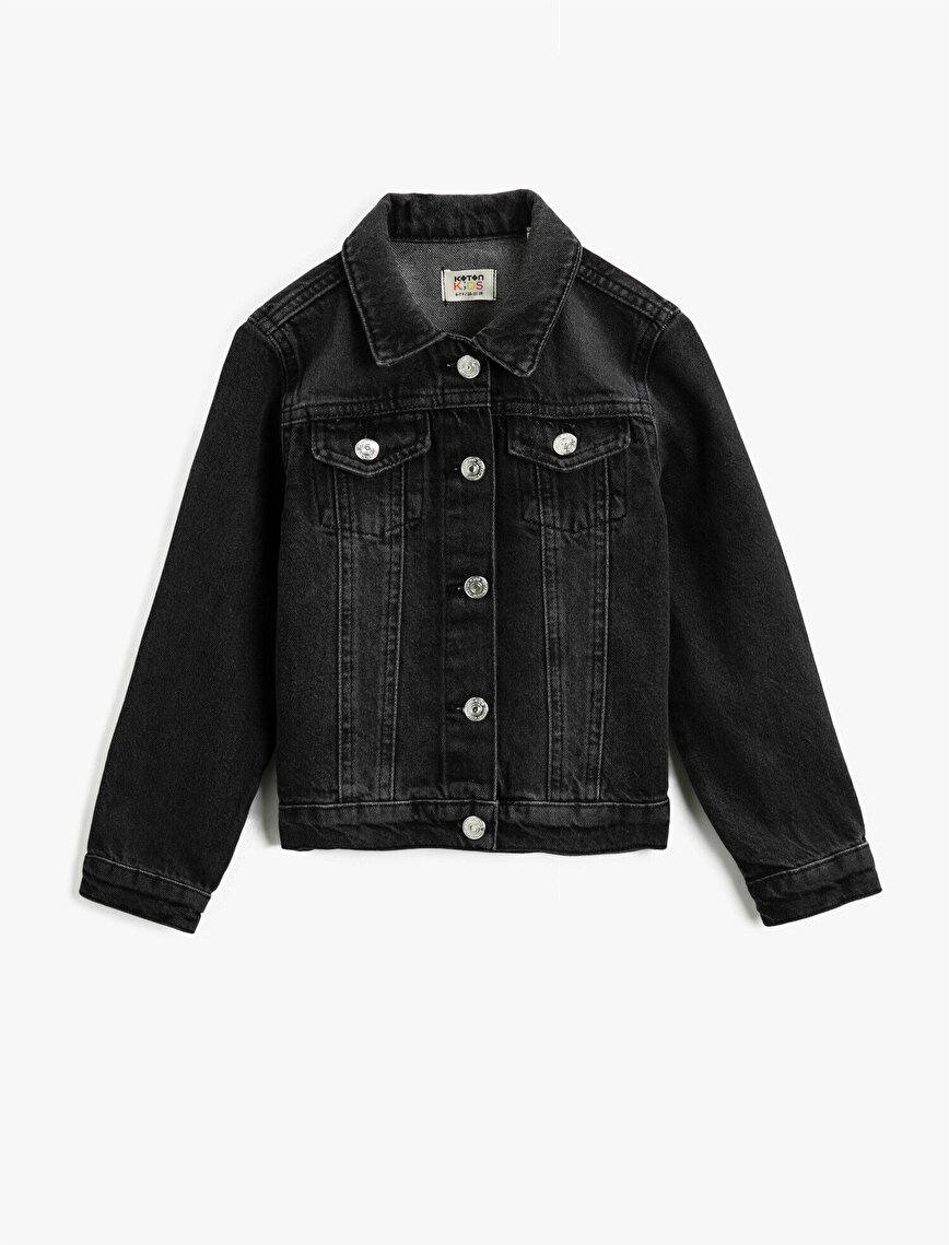 Classic Collar Pocket Detailed Cotton Jean Jacket