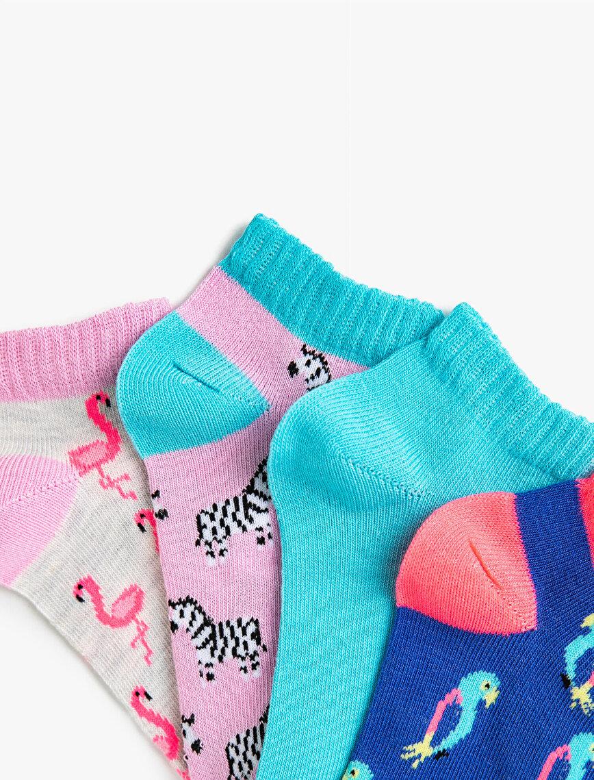 Kız Çocuk Hayvan Desenli Çorap Seti Pamuklu