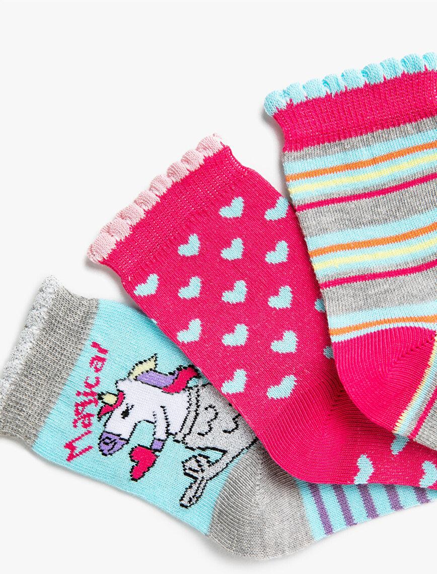Kız Çocuk Unicorn Çorap Seti Desenli Çizgili