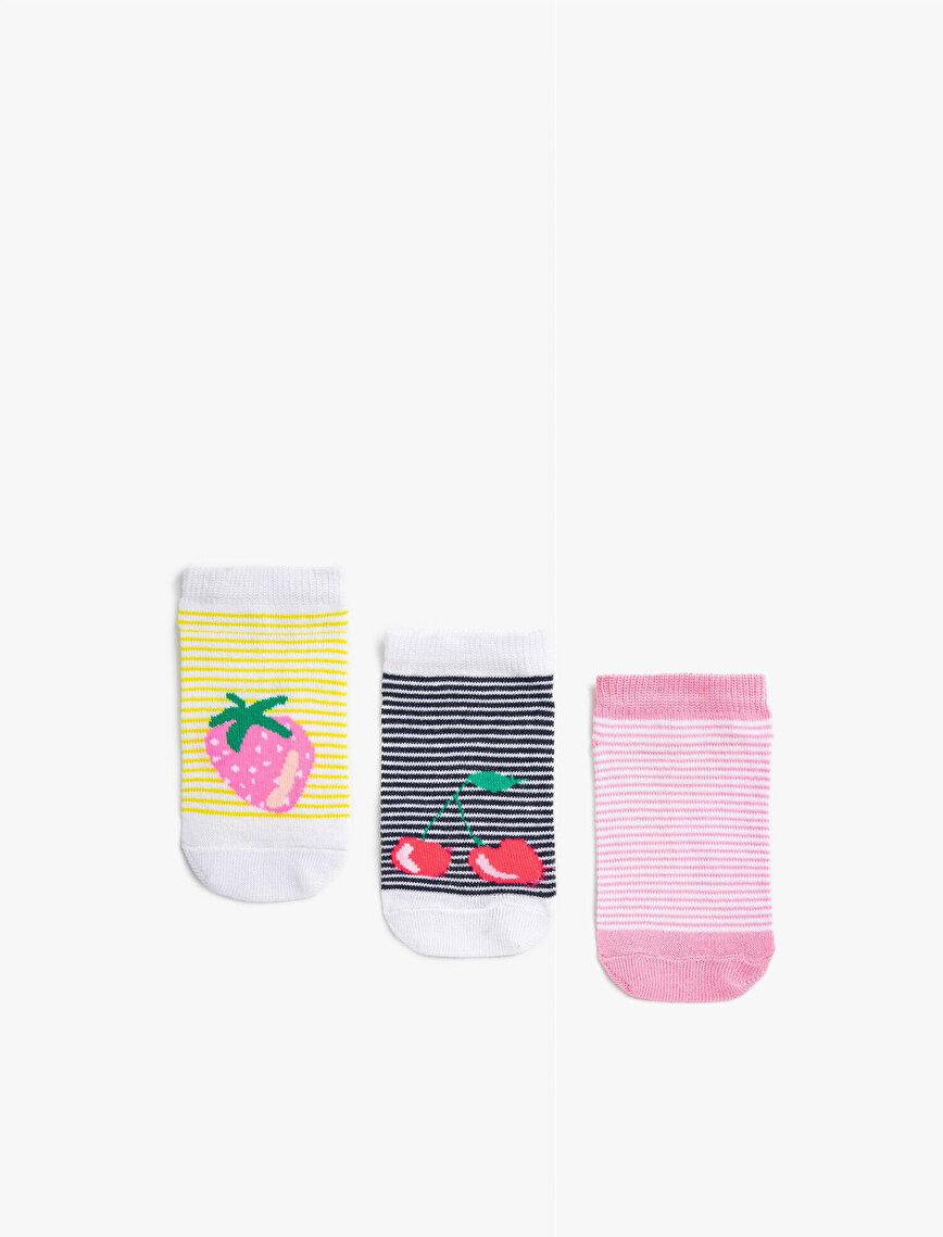 Kız Çocuk Meyveli Çorap Seti Pamuklu