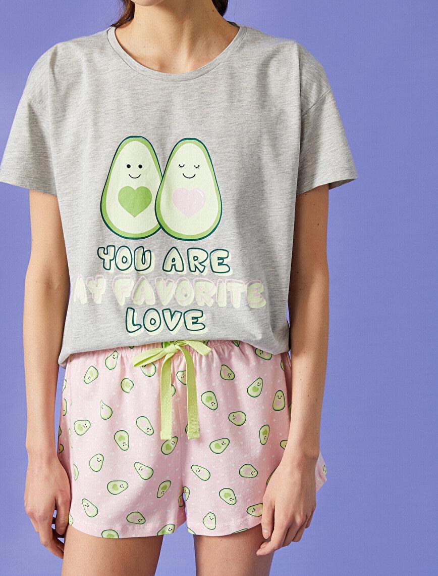 Şortlu Pijama Takımı Baskılı